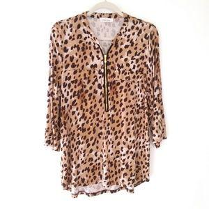 Calvin Klein Animal Cheetah Leopard Print Blouse